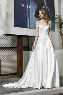 Simple wedding dresses cheap | Wedding dress A line_2