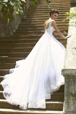 Weiß Brautkleider Perlen Träger Organza Hochzeitskleider Brautmoden_5