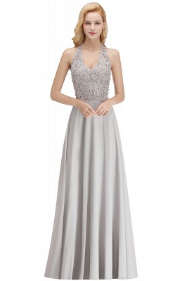 Silver Evening Dresses Long V Neck | Evening dress with lace_5