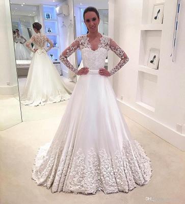 Brautkleider Lang Ärmel V Ausschnitt Weiß Brautmoden Mit Spitze Hochzeitskleider_1