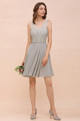 Silver Bridesmaid Dresses Short Cheap | Chiffon dresses with lace_4