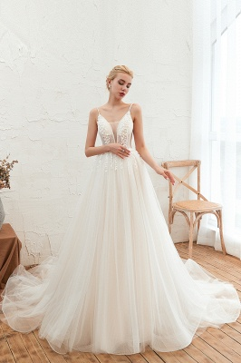 Modern wedding dress A line | Tulle wedding dresses with lace_6