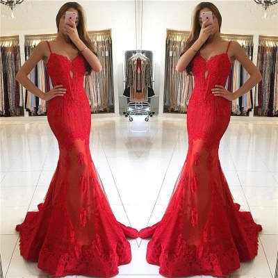 Fashion Evening Dresses Long Red Mermaid Lace Evening Wear Online_2