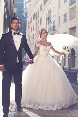 Prinzessin Brautkleider Weiß Spitze Tüll Schleppe Brautmoden Hochzeitskleider_3