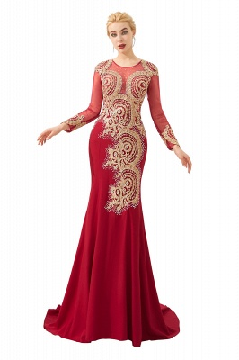 Evening dress long red | Prom dresses with sleeves_1