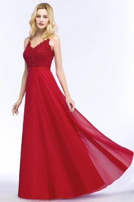 Evening dresses long V neckline | Red prom dresses_5