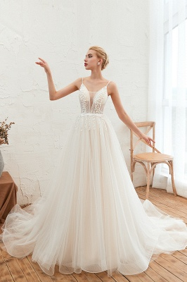 Modern wedding dress A line | Tulle wedding dresses with lace_9