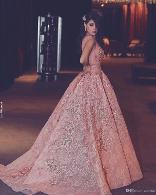 Pink Quniceanera Dresses 2021 Lace A Line Prom Dresses Evening Gowns Cheap_3