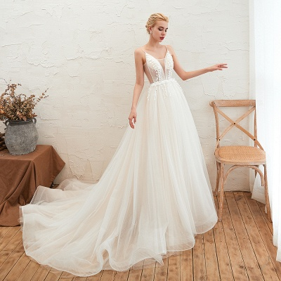 Modern wedding dress A line | Tulle wedding dresses with lace_11
