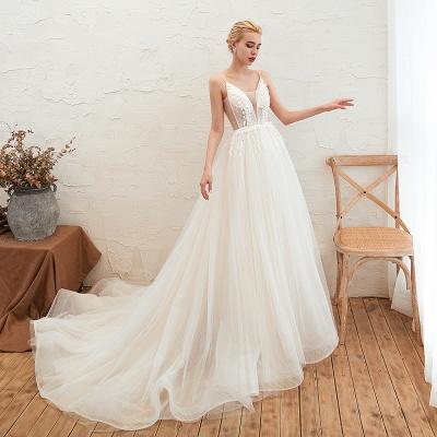 Modern Brautkleid A linie   Tülle Hochzeitskleider mit Spitze_11