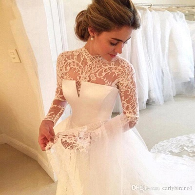 Cheap Wedding Dresses Lace With Sleeves White A Line Wedding Dresses Online_2