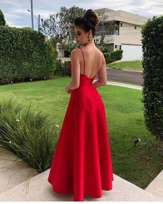 Red Evening Dresses Long V Neck | Evening wear cheap_2