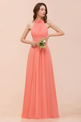Coral Brautjungfernkleider Lang Günstig | Chiffon Kleider für Brautjungfern_4
