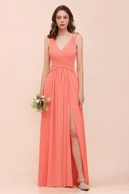 Schlichte Brautjungfernkleider Lang | Coral Brautjungfernkleid Günstig_1