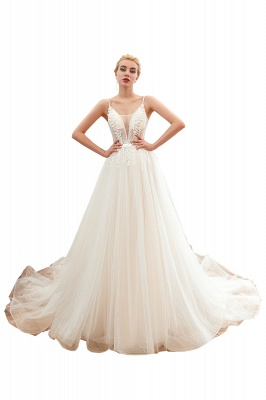 Modern wedding dress A line | Tulle wedding dresses with lace_1