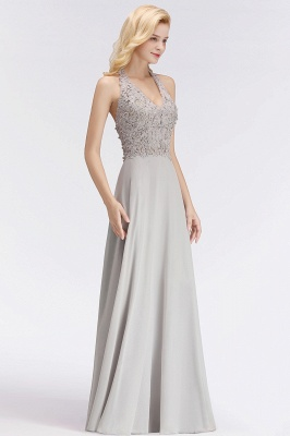Silver Evening Dresses Long V Neck | Evening dress with lace_9