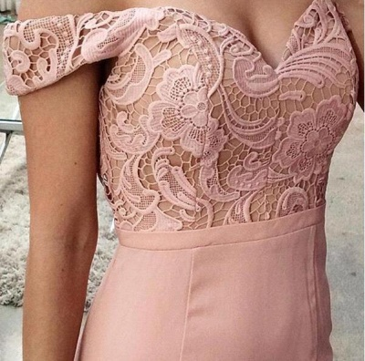 Pink Prom Dresses Long Cheap Lace Mermaid Evening Wear Prom Dresses_3