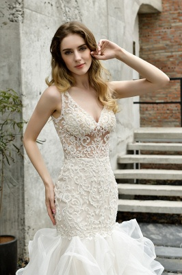 Fashion wedding dress with lace | Mermaid wedding dress_12