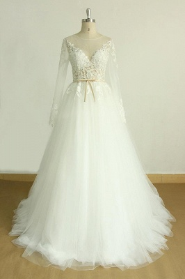 Beautiful wedding dresses A line | Wedding dresses with sleeves_1
