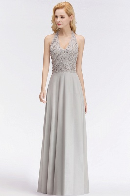 Silver Evening Dresses Long V Neck | Evening dress with lace_10