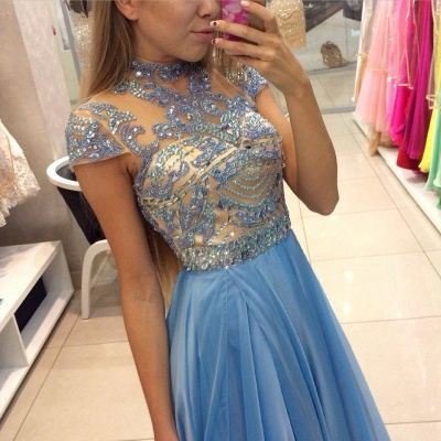 Blau Abendkleider Lang Günstig Perlen Mit Ärmel Abendmoden Partykleider_2