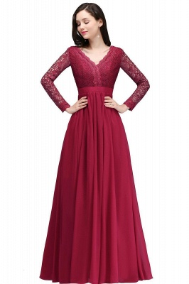 Evening dresses long wine red | Prom dresses with sleeves
