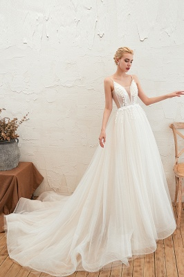 Modern wedding dress A line | Tulle wedding dresses with lace_12