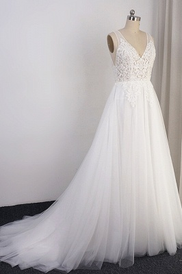 Schlichte Brautkleid A Linie | Hochzeitskleider mit Spitze_4