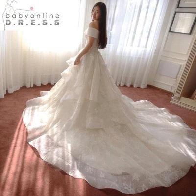 Schicke Weiß Brautkleider Spitze Blumen Organza Hochzeitskleider Nachmaße_3