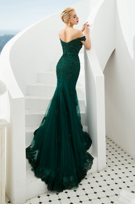 Evening dress green | Long lace prom dresses_4