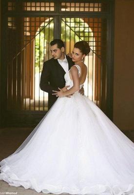 Weiß Brautkleider Perlen Träger Organza Hochzeitskleider Brautmoden_3