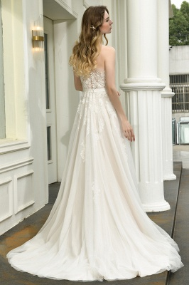 Elegant brewing dresses A line | Wedding dresses with lace_12