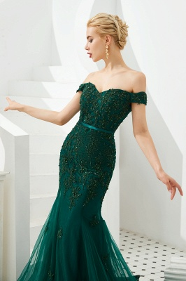 Evening dress green | Long lace prom dresses_8