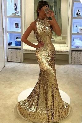 Gold Abendkleider Lang Günstig Glitzer Meerjungfrau Pailleten Abendmoden Abiballkleider_1