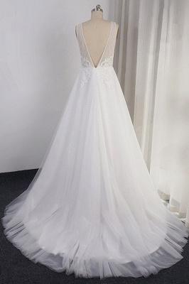 Schlichte Brautkleid A Linie | Hochzeitskleider mit Spitze_3