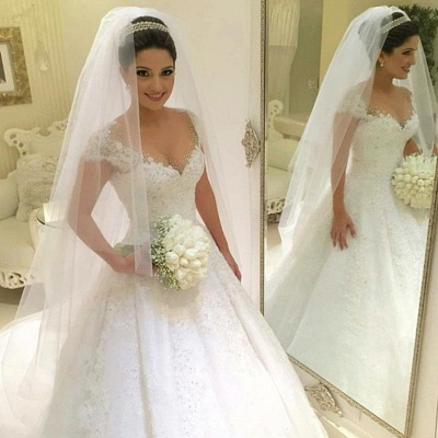 Modern Wedding Dresses White With Lace A Line Beaded Tulle Bridal Wedding Dresses_3