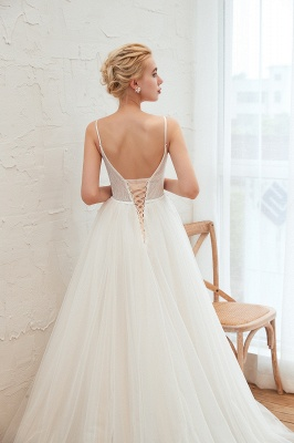 Modern wedding dress A line | Tulle wedding dresses with lace_17