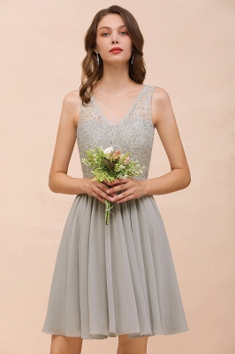 Silver Bridesmaid Dresses Short Cheap | Chiffon dresses with lace_7