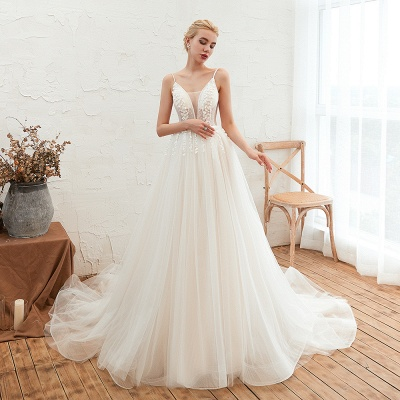 Modern wedding dress A line | Tulle wedding dresses with lace_4