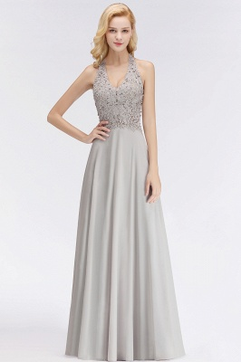 Silver Evening Dresses Long V Neck | Evening dress with lace_8
