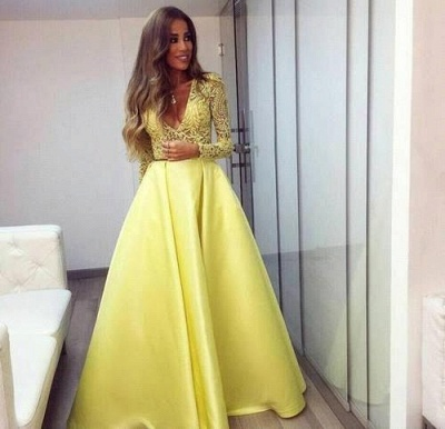 Evening Dress Yellow Long Sleeves Lace A Line V Neckline Evening Dresses Prom Dresses_2