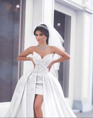 Duchesse-Linie Brautkleider Weiß Spitze Herz Schlepper Brautmoden Hochzeitskleider_2