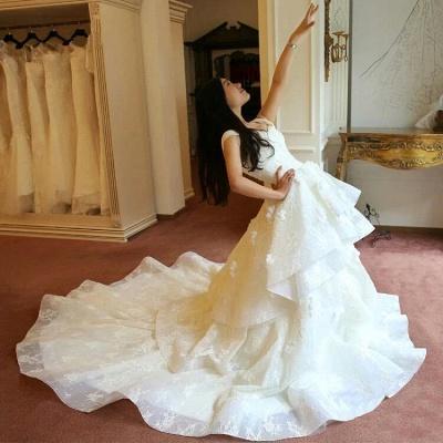 Schicke Weiß Brautkleider Spitze Blumen Organza Hochzeitskleider Nachmaße_5