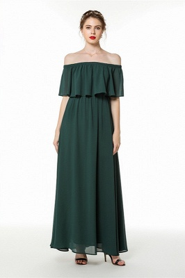 Chiffon dresses | Evening dress dark green