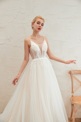 Modern wedding dress A line | Tulle wedding dresses with lace_18