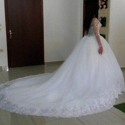 Luxurious Wedding Dresses White Labg Sleeves Crystal Tulle Princess Wedding Gowns_2
