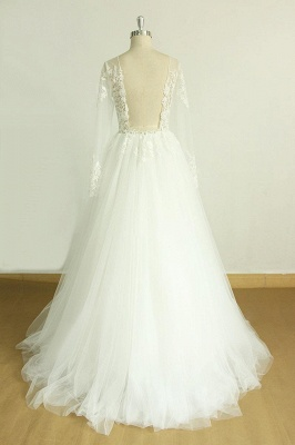 Beautiful wedding dresses A line | Wedding dresses with sleeves_3