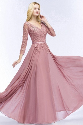 Pink evening dress long V neckline | Prom dresses lace sleeves_2