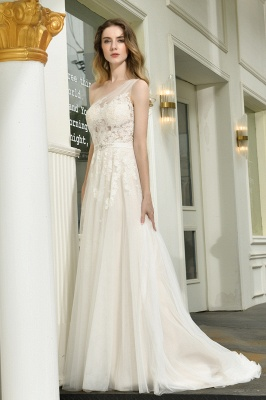 Elegant brewing dresses A line | Wedding dresses with lace_9