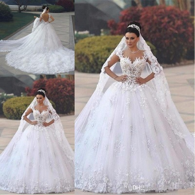 Luxury Weiße Brautkleider Spitze A line Träger Hochzeitskleider Mit Schleppe_3